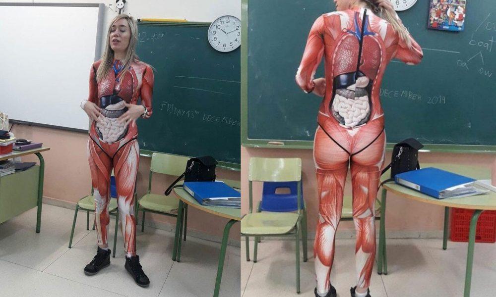 Quando a educação cruza com a criatividade! Professora dá aula de anatomia em um traje que mapeia o corpo humano em detalhes